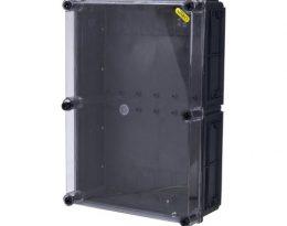 קופסת CI46 עם בסיס שחור, מכסה שקוף 500X350X150